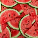 Achtergrond van verse rijpe watermeloenplakken stock afbeelding