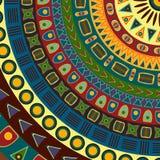 Achtergrond van in vieren gedeelde cirkel die uit kleine eenvoudige grafische vormen van verschillende kleuren bestaan De zomerac Stock Afbeelding