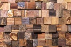 Achtergrond van vierkante stukken van houten reeks Stock Foto's