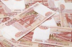 Achtergrond van vijf duizend Russische roebelsrekeningen Royalty-vrije Stock Foto's