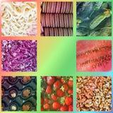 Achtergrond van voedsel Het blad van de foto collage stock fotografie