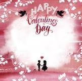 Achtergrond van Watercolored de roze Valentine Stock Foto