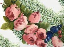Achtergrond van waterverf de roze rozen Royalty-vrije Stock Foto's