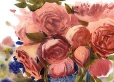 Achtergrond van waterverf de roze rozen Royalty-vrije Stock Fotografie