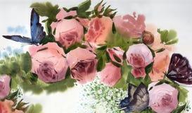 Achtergrond van waterverf de roze rozen Stock Afbeeldingen