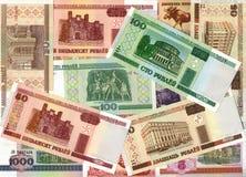 Achtergrond van Witrussische roebelbankbiljetten Stock Foto