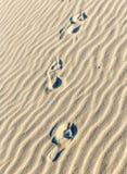 Achtergrond van zandrimpelingen bij het strand met voetstappen Royalty-vrije Stock Fotografie