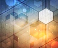 Achtergrond van zeshoeken, aanstekende gevolgen, vaag licht Modern abstract ontwerp Stock Fotografie