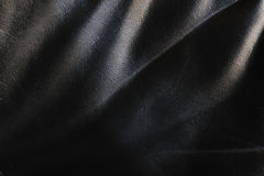 Achtergrond van zwart leer Stock Foto's