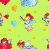 Achtergrond vier engelen met harten De dag van de valentijnskaart watercolor Royalty-vrije Stock Foto