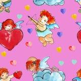 Achtergrond vier engelen met harten De dag van de valentijnskaart watercolor Royalty-vrije Stock Afbeelding