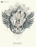 Achtergrond voor affiche in grungestijl met schedel in vlam Royalty-vrije Stock Afbeelding