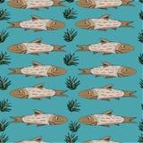 Achtergrond voor een uitnodigingskaart of een gelukwens Het patroon van beeldverhaalvissen Stock Foto