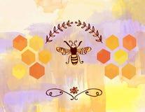 Achtergrond voor honing met bij en cellen Stock Foto