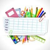 Achtergrond voor schooltijdschema met kantoorbehoeften Royalty-vrije Stock Afbeeldingen
