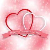 Achtergrond voor Valentijnskaartendag met twee harten Royalty-vrije Stock Foto's