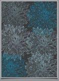 Achtergrond zwart-wit met witte en blauwe bloemen op een grijze achtergrond Royalty-vrije Stock Afbeeldingen