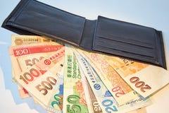 Achtergrond, zwarte mensen` s portefeuille met geïsoleerde rekeningen van diverse munten, stock afbeelding