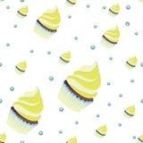 Achtergrondbehang met muffins Vector Royalty-vrije Stock Afbeelding
