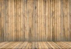 Achtergrondbinnenland Houten muur en vloer Stock Foto