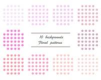 10 achtergronden - Bloemenpatronen Royalty-vrije Stock Foto's