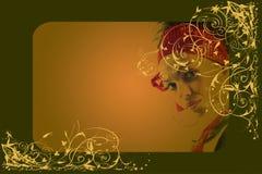 Achtergronden en meisjesportret vector illustratie
