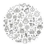 Achtergronden met pictogrammen - Nieuwjaar, Kerstmis, de winter vector illustratie