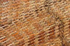 Achtergronden van bamboe doorweven ambacht met hoogste meningsclose-up Royalty-vrije Stock Foto