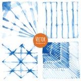 Achtergronden van de Shibori de indigo geverfte waterverf vector illustratie