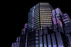 Achtergrondfragment van een wolkenkrabber met gekleurde glazen Stock Foto's