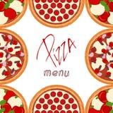 Achtergrondgrenskader met diverse pizzaingrediënten stock illustratie