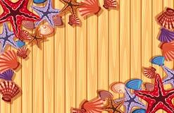 Achtergrondmalplaatje met zeester en shells Stock Foto