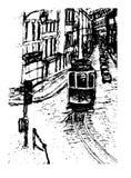 Achtergrondmenings grafische cityscape de tramhand getrokken illustratie van Lissabon royalty-vrije illustratie