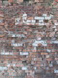 Achtergrondmuur van gescheurde baksteen stock afbeelding