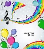 Achtergrondmuziek met ballons Royalty-vrije Stock Fotografie