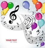 Achtergrondmuziek met ballons Royalty-vrije Stock Foto