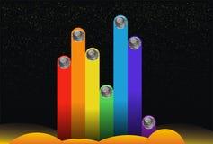 Achtergrondmuziek ruimtester gekleurde striae Stock Afbeeldingen