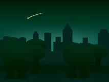 Achtergrondnachtstad, illustratie Stock Fotografie