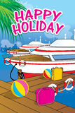 Achtergrondontwerp gelukkige vakantie Stock Foto's