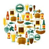 Achtergrondontwerp met bierpictogrammen en voorwerpen Stock Foto