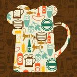 Achtergrondontwerp met bierpictogrammen en voorwerpen Royalty-vrije Stock Afbeelding