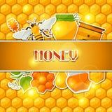 Achtergrondontwerp met honing en bijenstickers Stock Afbeeldingen