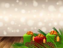 Achtergrondontwerp met huidige dozen en pinecones Royalty-vrije Stock Fotografie