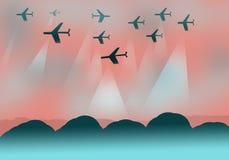 Achtergrondontwerp met vliegtuigen Royalty-vrije Stock Foto's