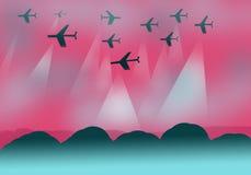 Achtergrondontwerp met vliegtuigen Royalty-vrije Stock Fotografie
