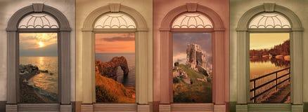 Achtergrondontwerp vier seizoenen in zachte browns stock foto's