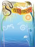 Achtergrondoverzees en het ontwerpvector van het de zomerteken Royalty-vrije Stock Foto