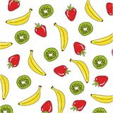 Achtergrondpatroon met bananen, kiwi en aardbei Stock Foto's