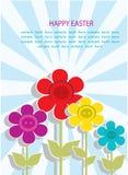 Achtergrondprentbriefkaar met groeten voor Pasen met bloemen en stralen Royalty-vrije Stock Afbeeldingen