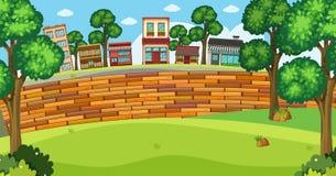 Achtergrondscène met gebouwen en brickwall stock illustratie